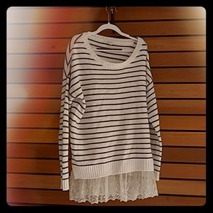 Delias blue and white striped overshirt